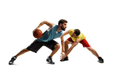 Fight of two basketball players Stock Photo