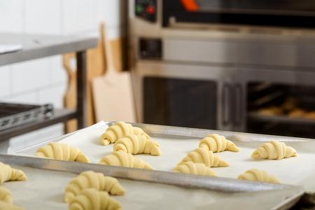 Raw vanilla croissants Stock Photo