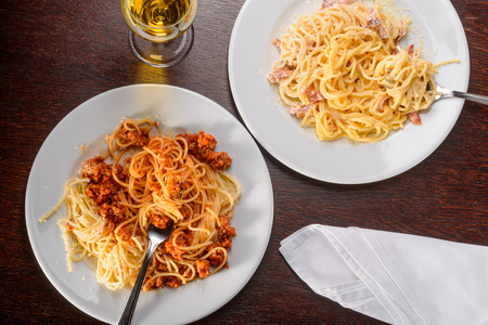Two different variants of pasta