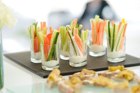 Vegetable sticks with mayonaisse Stock Photo
