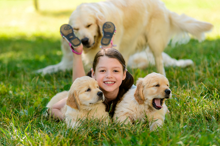 Photo of girl and puppies 스톡 콘텐츠