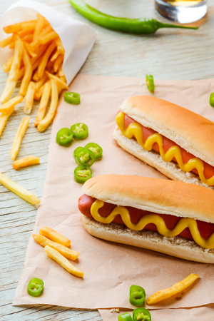 Fries, pepper and hot dogs
