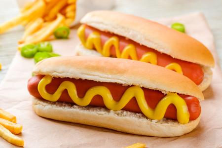 Hot dogs, pepper and fries