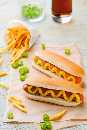 Delicious hot dogs with mustard Stok Fotoğraf