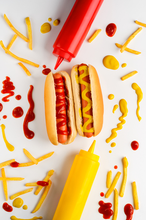 Hot dogs, potatoes and mustard