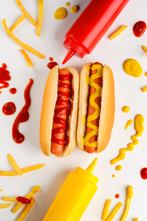 Hot dogs, potatoes and ketchup