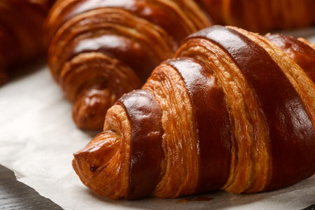 Close up on French croissant