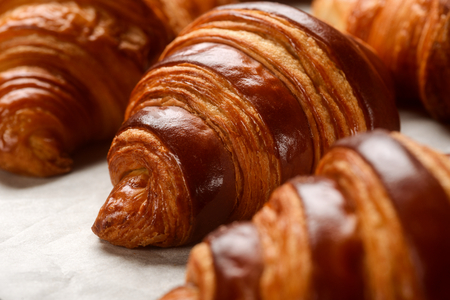 Macro view on French croissants 免版税图像