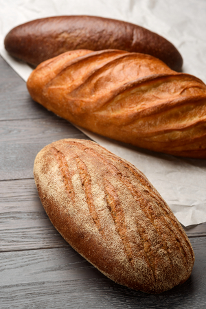 Assortment of bread on table Stock Photo