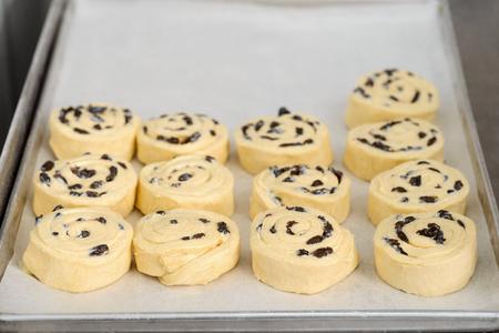 Puff pastry swirls with raisins