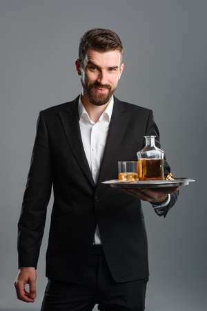 Happy man with old whisky