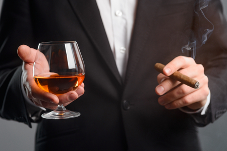 Focus on glass of whisky