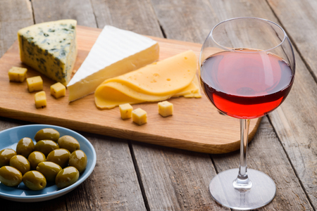 Cheese, olives and red wine