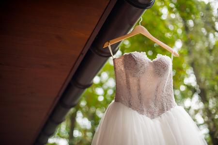 Cropped photo of bridal dress Фото со стока