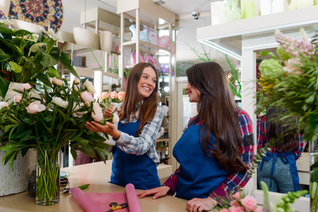 Two happy florists