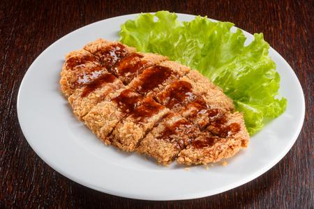 Pork with Tonkatsu sauce Stock Photo
