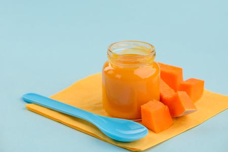 Jar of pumpkin puree