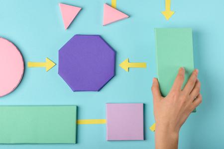 Flow chart color paper model 스톡 콘텐츠