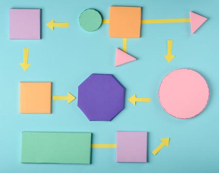 3D paper blocks and arrows