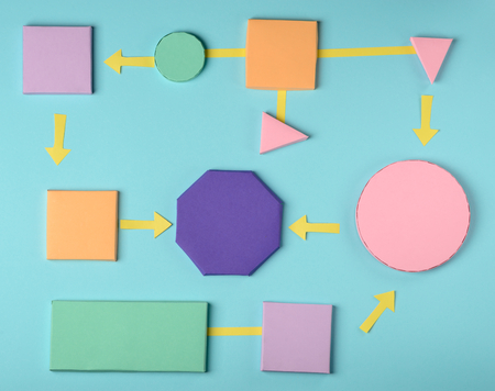 Colorful flow chart model 스톡 콘텐츠