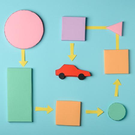 Buying a car diagram 스톡 콘텐츠