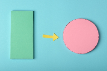 Green rectangle and pink circle