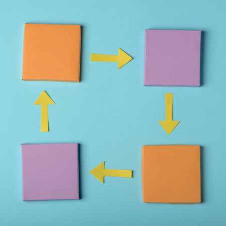 Colorful paper rectangles and arrows