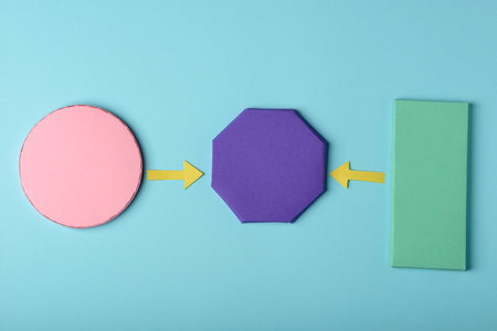 Circle, octagon, rectangle and arrows