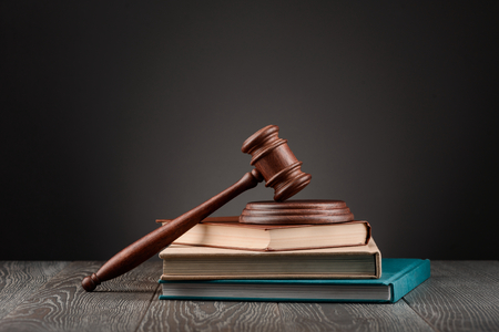 Gavel on top of books Stock Photo