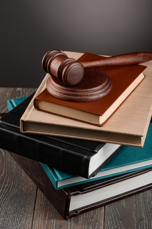 Stack of books and gavel Stok Fotoğraf - 114699225