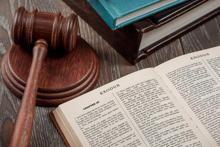 Book of Exodus and gavel Stock Photo - 114699242