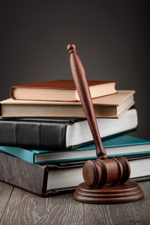 Gavel and stack of books 写真素材