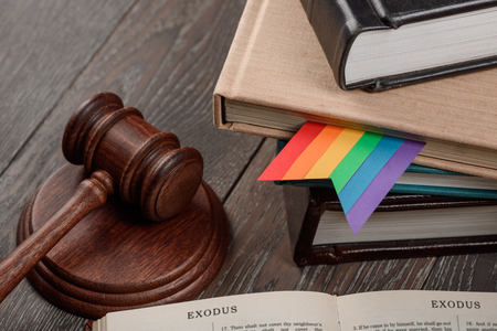 Gavel, rainbow bookmark and Bible 写真素材
