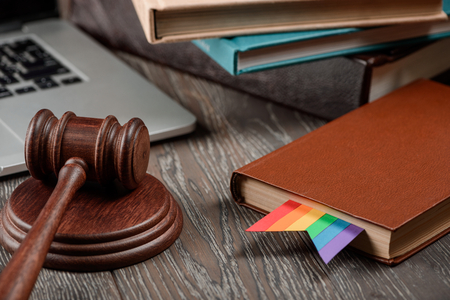 Gavel, book with rainbow