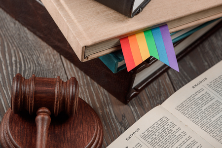 LGBT rainbow bookmark and gavel