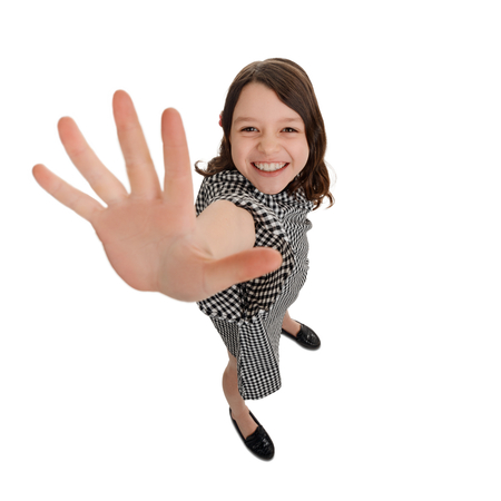 Girl is giving high five