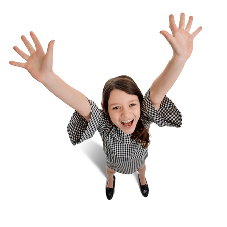 Overjoyed girl waving hands