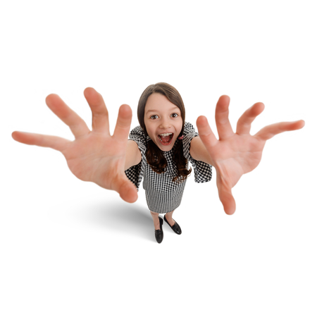 Delighted girl with grabbing hands Stock Photo