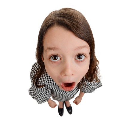 Funny girl with surprised face Stock Photo