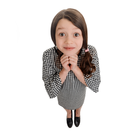 Thrilled girl waiting for something Stock Photo