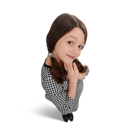 Shy little girl on white Stock Photo
