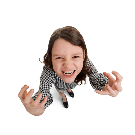 Portrait of agressive child Stock Photo