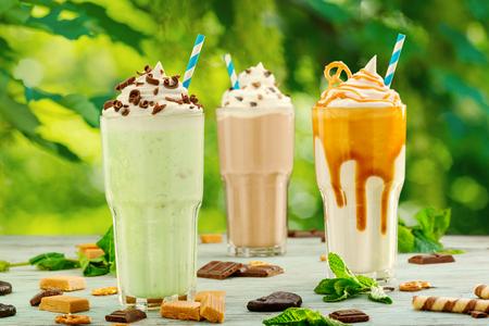 Mint, chocolate and caramel milkshakes