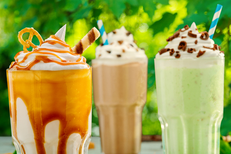 Three different milkshake cocktails