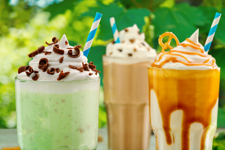 Assorted milkshakes with thick foam