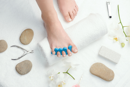 Womans foot with toe separator