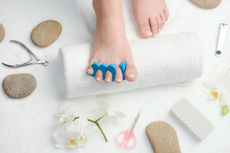 French pedicure at beauty salon