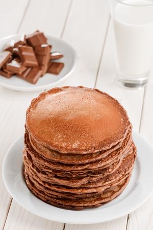 Chocolate, pancakes and milk