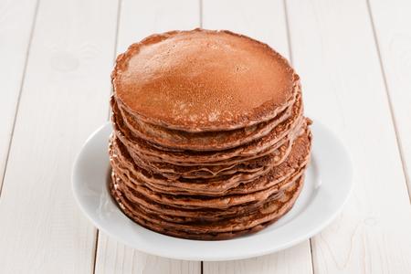Pile of fluffy brown pancakes 版權商用圖片