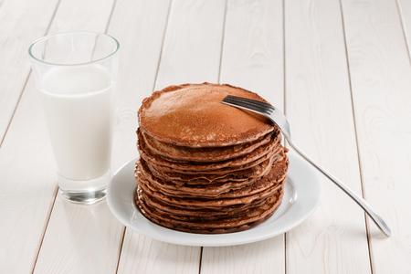 Pile of thick brown pancakes 版權商用圖片